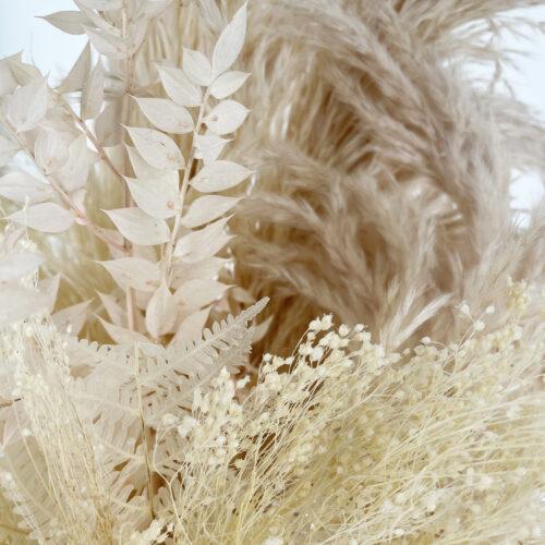 Cappelliera Pampas Felci Bianche e Gypsophila
