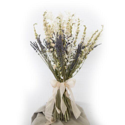 Bouquet Ruscus Lavanda Delphinium Bianco Naturali