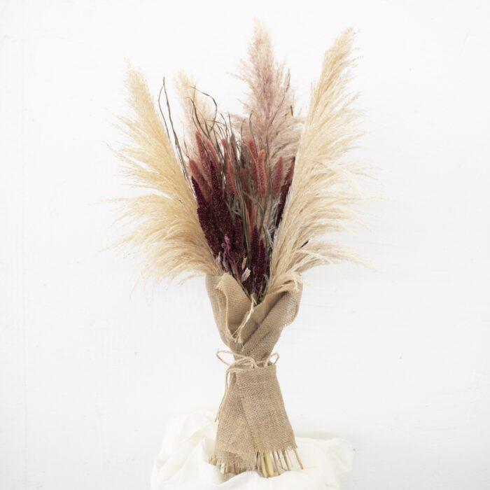Bouquet di Pampas Amaranto e Setaria Naturali